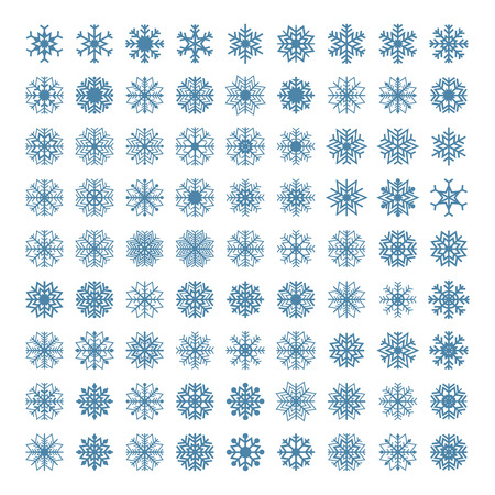 background part: A set of sixty-four snowflakes isolated on a white background, part two, vector illustration. Illustration