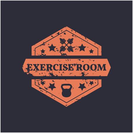 gym room: Hexagonal Grunge emblem exercise room