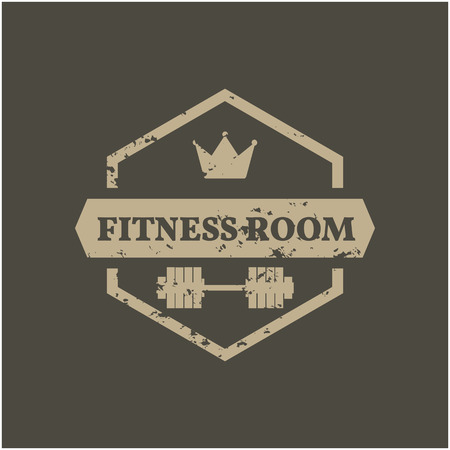 dirty room: Hexagonal Grunge emblem fitness room Illustration