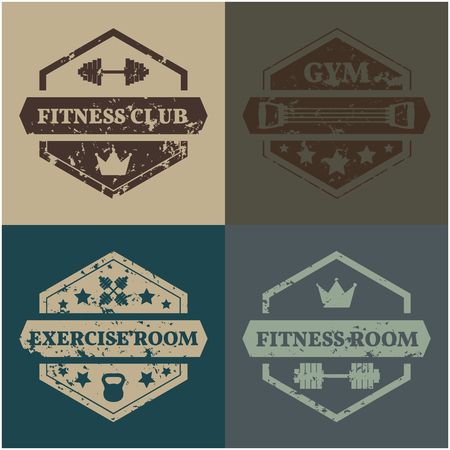 gym room: A set of four sports emblems grunge