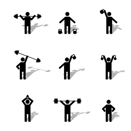 black shadows: A set of silhouettes athlete performs exercises with shadow, part first, vector illustration.