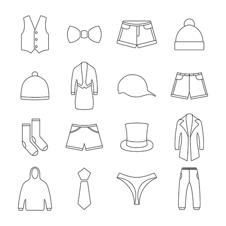 brassiere: Icons clothes from thin lines second part, vector illustrations. Illustration