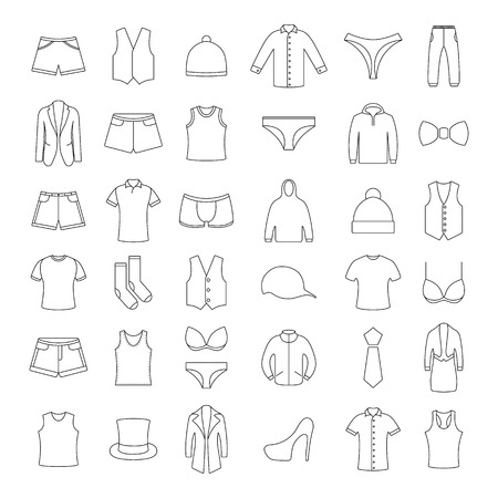 Icons clothes from thin lines, illustrations.