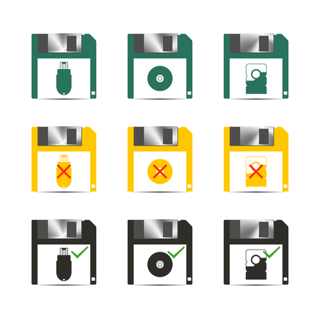 performed: Set of color different icons to save, illustration.