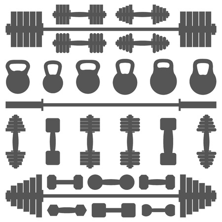 sports equipment: Set sports equipment  for the gym, vector illustration.