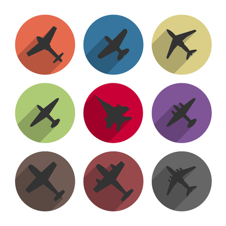 modern fighter: Set of round icons airplanes with a long diagonal shadow Illustration