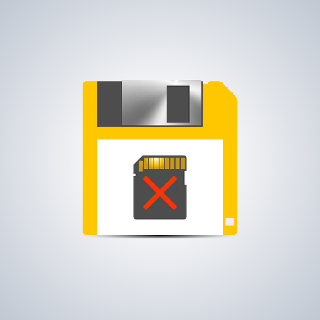 memory card: Icon error writing on the memory card isolated on a white background, vector illustration.