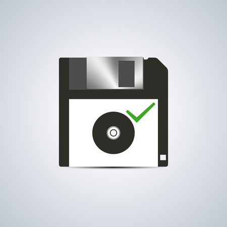 rom: Icon successful writing on compact disc on a white background, vector illustration.