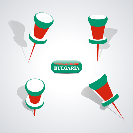 national colors: Set of pushpin in the national colors of Bulgaria, vector illustration.