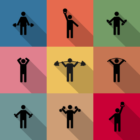 perform: Icons athletes perform exercises with long diagonal shadow, second part, vector illustration. Illustration