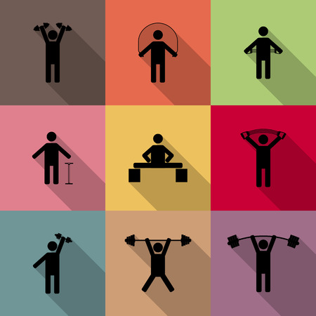 perform: Icons athletes perform exercises with long diagonal shadow, third part, vector illustration. Illustration
