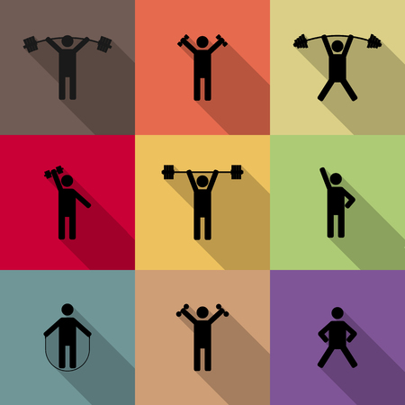 perform: Icons athletes perform exercises with long diagonal shadow, fourth part, vector illustration.
