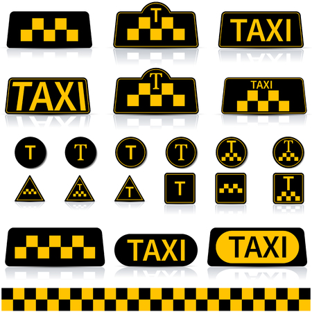 reflection mirror: Set of sign and symbols of a taxi with a mirror reflection, vector illustration.