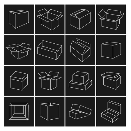 box: Set outline icon box of thin lines, vector illustration. Illustration