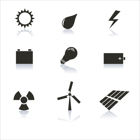 reflection mirror: Set energy icons gray with a mirror reflection, vector illustration.