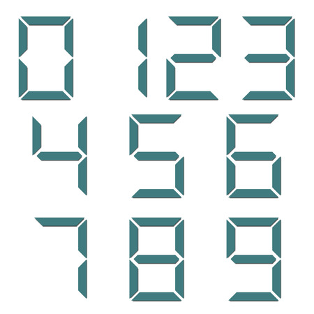 4 3 display: A set of digital numbers isolated on white background, illustration.