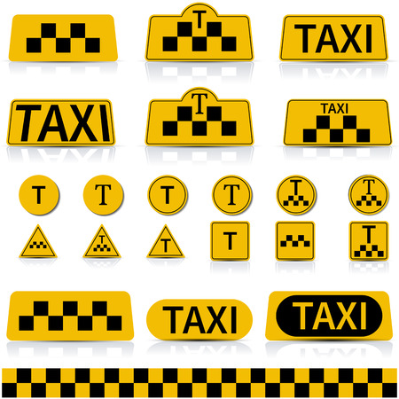 reflection mirror: Set of sign and symbols of a taxi with a mirror reflection, illustration. Illustration