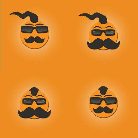 forelock: Set of four Funny faces with a mustache and sunglasses on yellow background, illustrations Illustration