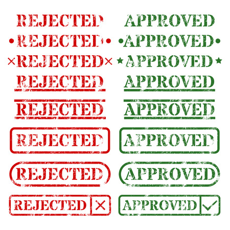 rejected: A set of stamps approved and rejected illustration.