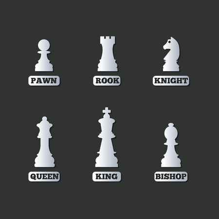 duel: A set of chess figures with names, vector illustration. Illustration