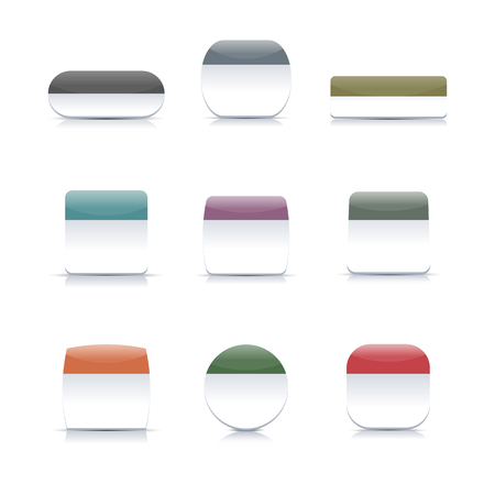 reflection mirror: A set of two-color buttons different form with shadow and mirror reflection, vector illustration.