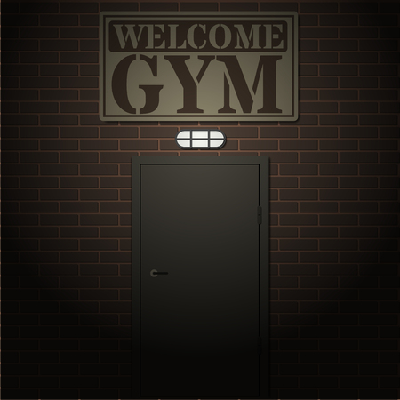 streetlight: Entrance to the gym lit by a street lamp, healthy lifestyle concept vector illustration.