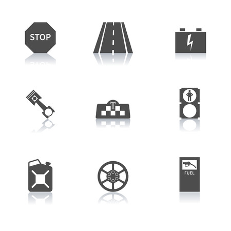reflection mirror: Set auto icons with a mirror reflection second part, vector illustration. Illustration