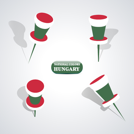 national colors: Set of pushpin in the national colors of Hungary, vector illustration.