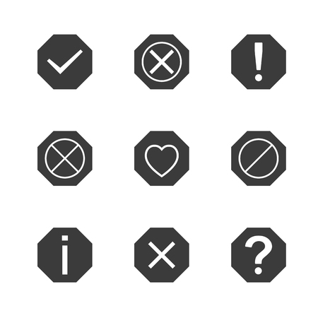 dismiss: Set of icons and signs, symbols help, information, check, delete, attention vector illustration