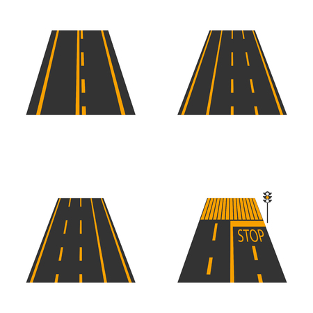 avenue: Icons of the road  with yellow  markings and road signs second part, vector illustration.