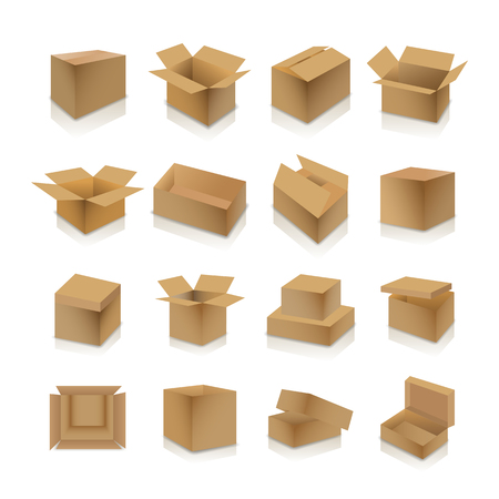 Set of various cardboard boxes with shadow and mirror reflection isolated on white background, vector illustration. Çizim