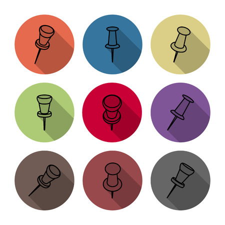 pushpins: Set of icons pushpins of thin lines with a long shadow, vector illustration.
