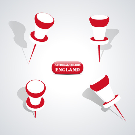 national colors: Set of pushpin in the national colors of England, vector illustration.