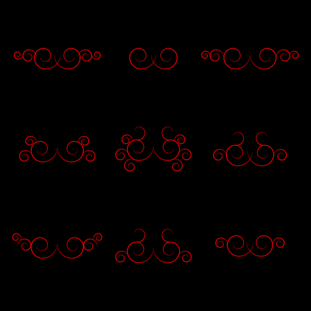 separators: Set of calligraphic curls and separators for text, vector illustration. Illustration