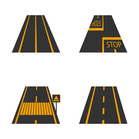 avenue: Icons of the road  with yellow  markings and road signs third part, vector illustration.