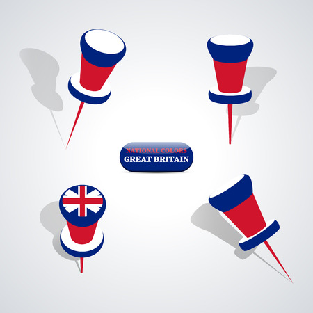 national colors: Set of pushpin in the national colors of Great Britain, vector illustration.