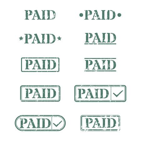 grahic: Set of rectangular stamps paid, vector illustration.