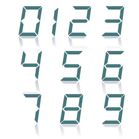 mirror reflection: A set of digital numbers slope and a mirror reflection isolated on white background, vector illustration. Illustration