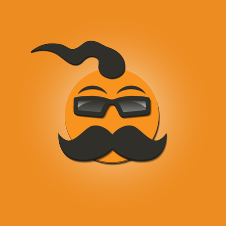 mohawk: Funny face with a mustache and sunglasses on yellow background, vector illustrations.
