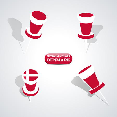 tacks: Set of pushpin in the national colors of Denmark, vector illustration.