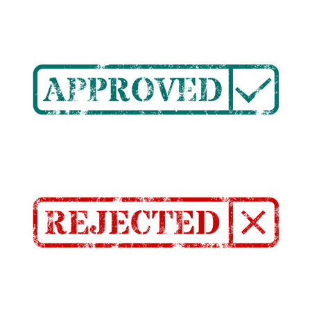 rejection: A set of rectangular stamps approved and rejected vector illustration. Illustration