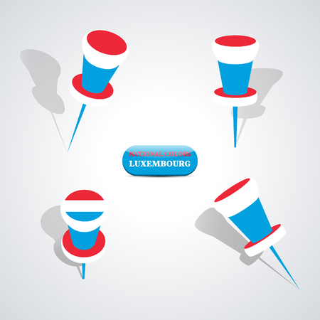 national colors: Set of pushpin in the national colors of Luxembourg