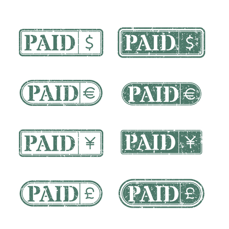grahic: A set of rectangular stamps paid to the leading world currencies, vector illustration.