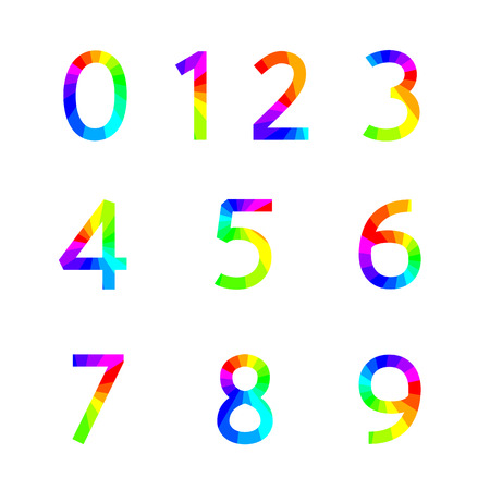 4 3 display: Rainbow numbers with square corners from zero to nine, vector illustration.