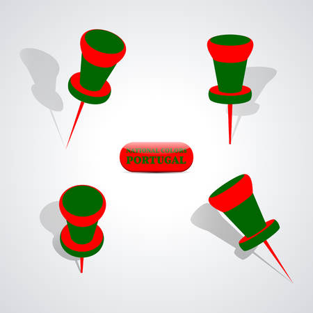 national colors: Set of pushpin in the national colors of Portugal, vector illustration.