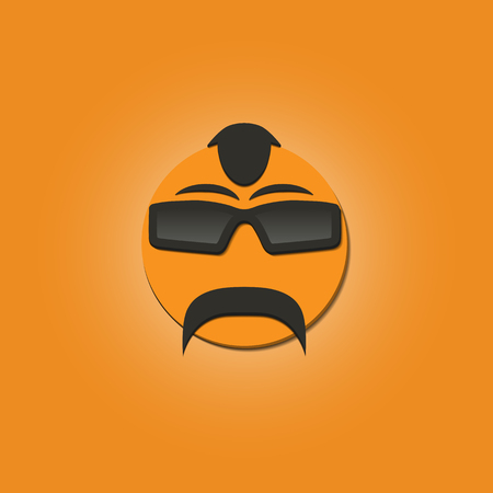 forelock: Funny face with a mustache and sunglasses on yellow background, vector illustrations.