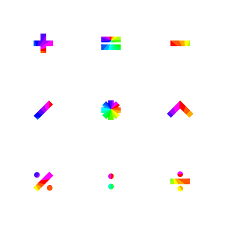 addition: Rainbow symbols of mathematical operations with square corners, vector illustration.