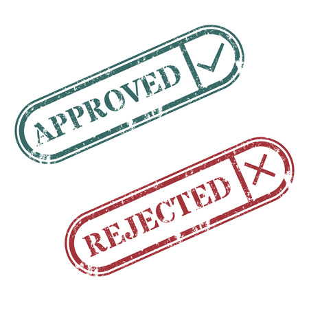 rejected: A set of rectangular stamps approved and rejected vector illustration. Illustration