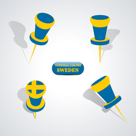 yellow tacks: Set of pushpin in the national colors of Sweden, vector illustration. Illustration