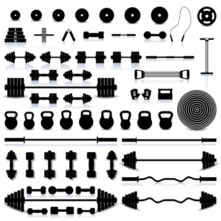 equipment: Big set of various sports equipment for the gym and fitness with a mirror reflection and shadow, vector illustration.